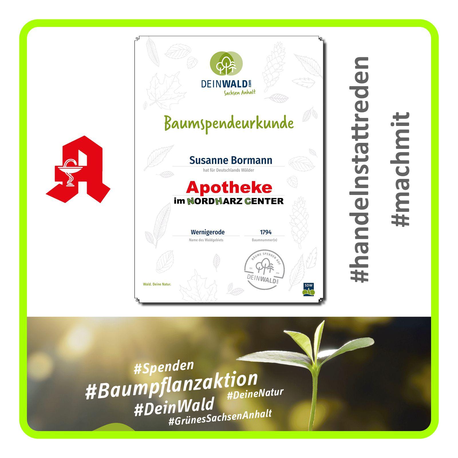 Zertifikat der Baumpflanzaktion der Apotheke im Nordharz Center