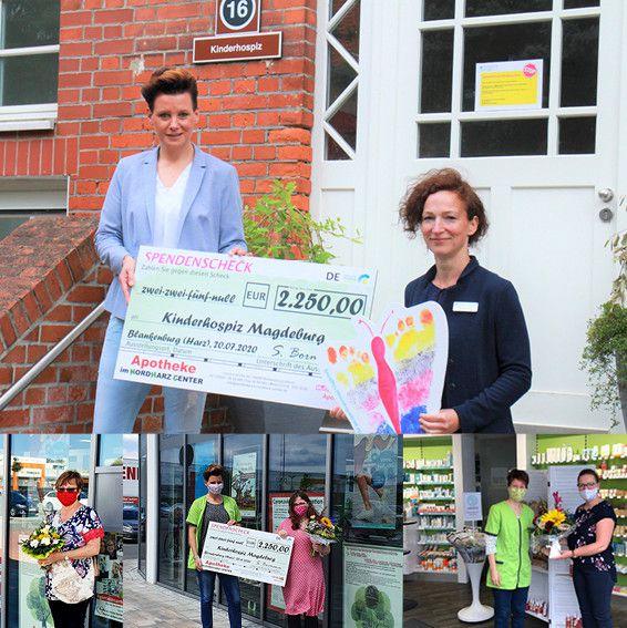 Foto der Übergabe des Spendenschecks mit Susanne Bormann und Frau Höppner